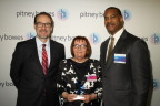 Grant Miller, President, Pitney Bowes DMT; Melita Poljičanin, Partner, Xagent, accepting the award on behalf of the Croatian Post; Jerry Carpenter, VP of Sales & Client Services, Pitney Bowes Presort Services (Photo: Business Wire)