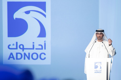 His Excellency Dr. Sultan Ahmed Al Jaber, UAE Minister of State and ADNOC Group CEO, announces the company's $45 billion investment plan to become a leading global downstream player. (Photo: AETOSWire)