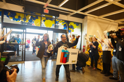 IKEA celebrates grand opening of Oak Creek, WI store, greeting customers with family-friendly events, special offers and thousands of dollars in gift cards - as won by Gregory Carrillo pictured here. (Photo: Business Wire)