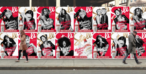 "Famed photographer Rankin led the print creative for Stoli Vodka's ""whatever drives you, make it lou ..."
