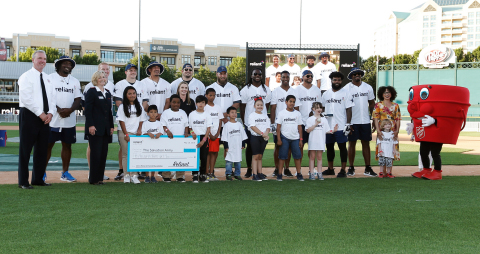 The Dallas Cowboys join Reliant to present $50,000 to the The Salvation Army Youth Education Town at the 2018 Reliant Home Run Derby. The seventh annual event brought hundreds of fans out to cheer on the Cowboys as they traded football cleats for baseball bats to raise funds for charity. (Wednesday, May 16, 2018; Dr Pepper Ballpark; Frisco, Texas)