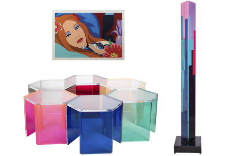 """This Vasa nest of six hexagonal colored acrylic tables and column, and Tom Wesselmann print """"Lulu"""" will be among the items auctioned by Abell on Sunday, May 20 at its L.A. gallery. (Photo: Business Wire)"""