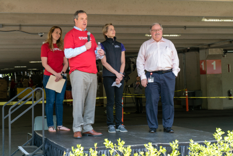 Sandy Douglas, CEO, Staples is joined by Steve Matyas, CEO, US retail, Staples and Lynn Margherio, Cradles to Crayons' Founder and CEO, to kick off Backpack-A-Thon at Staples Framingham headquarters on Wednesday, May 16. (Photo: Business Wire)