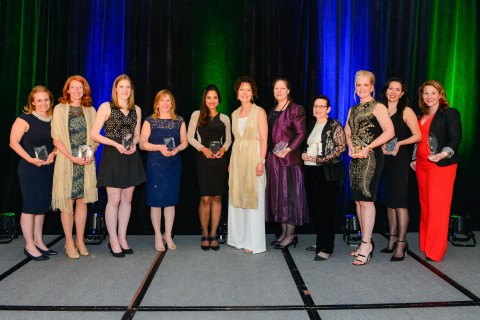 Winners of the 19th Annual Leadership Awards celebrated on May 17, 2018 at the Sheraton Tyson's in McLean, VA. Winners are as follows (L to R): STEM Leadership– Kristie Grinnell, General Dynamics IT Women in Defense – LTG(R) Mary Legere, Accenture Federal Services Unsung Hero – Christine Lemley, Volkswagen Group of America Corporate Large Market Sector – Vicki Schmanske, Leidos Corporate Small-Market Sector – Meena Krishnan, Inoventures, LLC. WIT President, Trish Barber Government – Lynnette Madsen, National Science Foundation Small Business/Entrepreneur – Suzanne Porter-Kuchay, SPK Communications Rising Star – Christine Antonsen, GEICO Corporate Mid-Market Sector – Mile Corrigan, Noblis WIT President's Award -Carrie Drake, OGSystems & WIT Communications Chair (Photo: Business Wire)