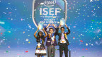 From left: Meghana Bollimpalli, Oliver Nicholls and Dhruvik Parikh celebrate on Friday, May 18, 2018, at the 2018 Intel International Science and Engineering Fair, a program of Society for Science & the Public and the world's largest international pre-college science competition. Nicholls, of Sydney, Australia, was awarded first place for designing and building a prototype of an autonomous robotic window cleaner for commercial buildings. Bollimpalli, of Little Rock, Arkansas, and Parikh, of Bothell, Washington, received Intel Foundation Young Scientist Awards. (Photo: Intel Corporation)