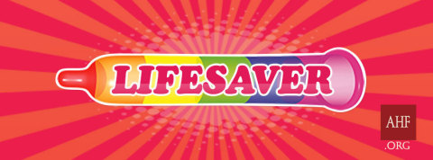 LIFESAVER: The artwork and symbol for AHF's 2018 Pride season features a rendering of an unfurled condom (horizontal, with no human or body visible) placed on a colorful red background. The condom has six multi-colored bands echoing the iconic rainbow flag, a symbol used by LGBTQ communities for decades AND it also evokes or suggests a roll of equally iconic Lifesaver candies. (Graphic: Business Wire)