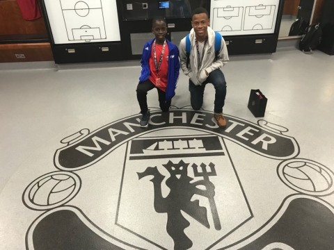 Paying homage to the great MUFC: Flow Skills 2018 winners - Jamaica's Brian Burkett and Barbadian Nathan Skeete enjoy the Manchester United Museum tour in the UK. (Photo: Business Wire)