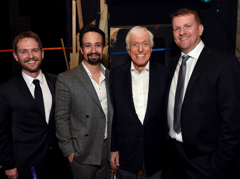 "Matt Shakman, Lin-Manuel Miranda, Dick Van Dyke and Gil Cates, Jr. at the Geffen Playhouse's 16th annual ""Backstage at the Geffen"" fundraiser on May 19, 2018. (Photo: Jordan Strauss)"