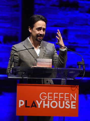 "Honoree Lin-Manuel Miranda at the Geffen Playhouse's 16th annual ""Backstage at the Geffen"" fundraiser on May 19, 2018. (Photo: Jordan Strauss)"