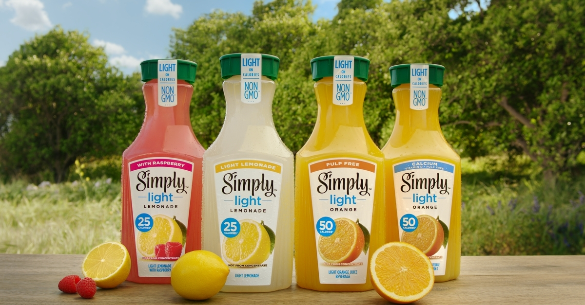 Simply Introduces A New Line Of Light Orange Juice Beverages And Light Lemonades With Less Sugar And Fewer Calories Business Wire
