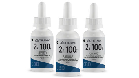 Tilray 2:100 has a target concentration of 2mg/ml THC and 100mg/ml CBD for a total cannabinoid amount of 80mg THC and 4,000mg CBD in each 40ml bottle. (Photo: Business Wire)