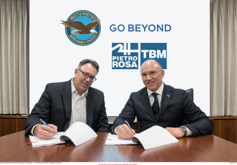 Left - Art Erikson - Executive Director Strategic Sourcing and Contracts - Pratt & Whitney Right - Mauro Fioretti – President and CEO - Pietro Rosa TBM Group (Photo: Business Wire)