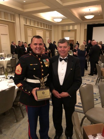 GySgt Jonathon E. Thornton, Marine Wing Support Squadron - 372, is the recipient of the Jack W. Demmond award for Aviation Ground Marine of the Year. Presented by John Scheiner, Orbital ATK, 19 May 2018 at the MCAA National Convention and Reunion. (Photo: Business Wire)