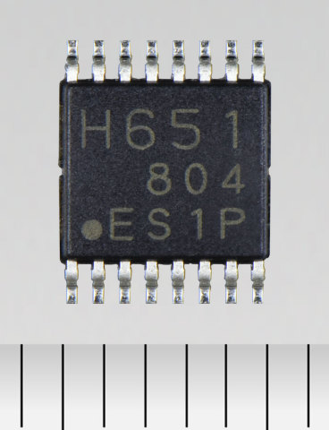 "Toshiba: A dual-H-bridge driver IC ""TC78H651FNG"" for DC brushed motors and stepping motors that delivers the low voltage (1.8V) and high current (1.6A). (Photo: Business Wire)"