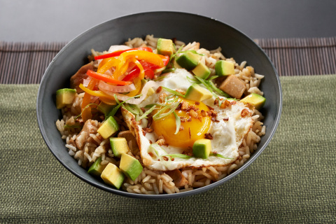 Chicken Adobo and California Avocado Fried Rice Topped with Pickled Vegetables by Chef Marge Manzke of Sari Sari Store in Los Angeles, CA (Photo: Business Wire)