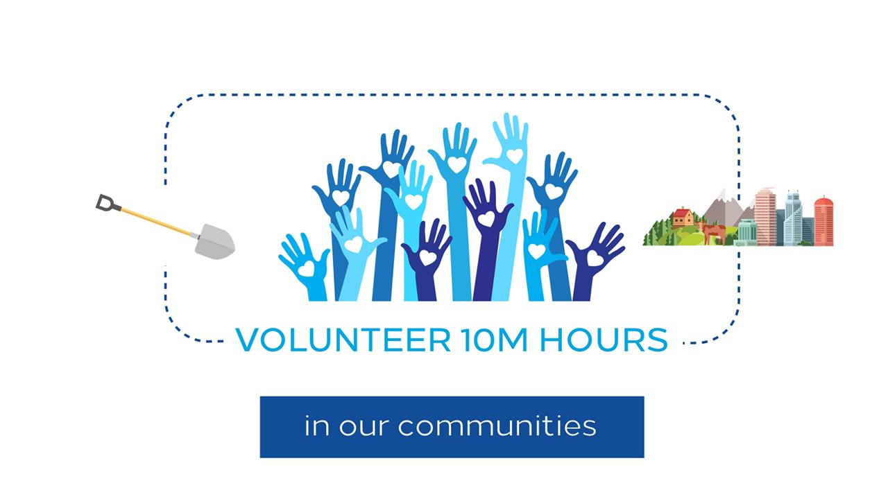 Hilton is contributing 10 million volunteer hours through Team Member initiatives