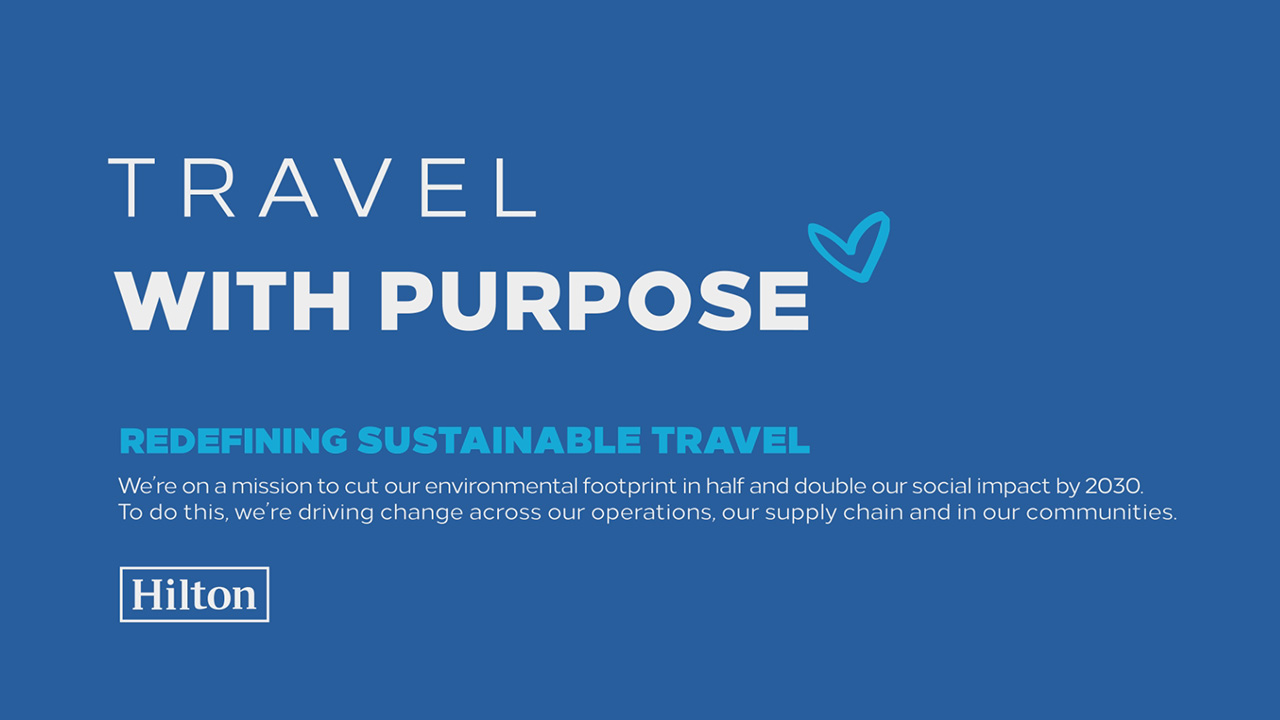 Hilton's 2030 Travel with Purpose Goals Animated Graphic