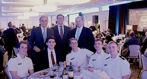 Seabury Maritime PFRA attends Admiral's Scholarship Dinner with SUNY Maritime College Midshipmen. Standing L to R: Seabury Maritime PFRA President & CEO-Edward M.A. Zimny; Managing Director-Advisory, Patrick Bird; and Managing Director-Maritime Investment Banking, Henry W. Juan. Seated L to R: Are a few of the most recent cadets Seabury Maritime PFRA has sponsored with their various industry initiatives, including (in business dress), current Seabury Maritime PFRA Intern – Nick LaRocca. (Photo: Business Wire)