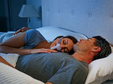 Woman wearing CPAP, the gold standard treatment for sleep apnea (Photo: Business Wire)