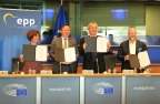 GCEL, INSME, BVMW and CONFAPI executed a strategic agreement at the European Union Parliament to deploy the Digital Economy Platform in collaboration with the world's leading technology firms to digitize the USD 140 trillion B2B marketplace (Photo: Business Wire)