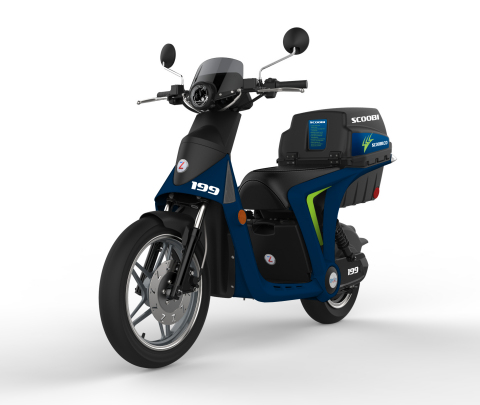 Scoobi will launch 100 dockless electric scooters operating in downtown Pittsburgh, starting in June. The scooters pair with Scoobi's mobile app, which displays the battery life for each scooter and enables the vehicle to start. The app also opens a lockable trunk, which houses two different-sized helmets and phone chargers. The scooters will travel up to 30 miles per hour with a range of up to 34 miles per charge and can be ridden by any person with a standard Class C driver's license. (Photo: Business Wire)
