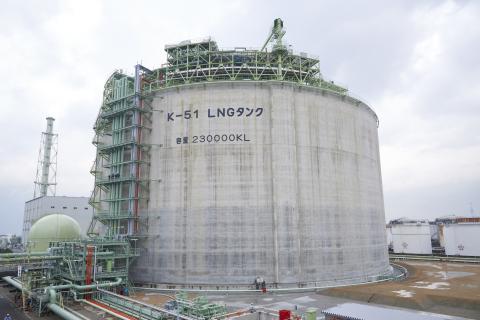 大阪ガスの泉北製造所第一工場5号LNGタンク (写真:ビジネスワイヤ)