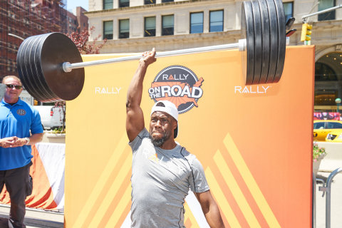 "Comedian, actor and Rally Health Ambassador Kevin Hart hammed it up for the crowd today in NYC at ""Rally on the Road"" to kick off a multi-city summer tour celebrating healthy living. (Photo: Business Wire)"