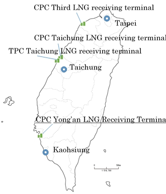Location of LNG Receiving Terminals in Taiwan (Graphic: Business Wire)