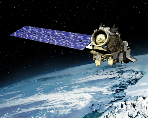 Artist rendering of NOAA's JPSS spacecraft in orbit. NASA has exercised options for JPSS-3 and JPSS-4 to be built by Orbital ATK. The company is currently producing JPSS-2. (Graphic: Business Wire)