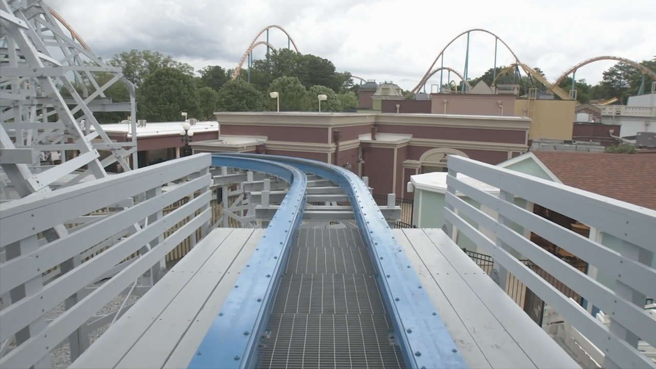 (POV) Take a virtual ride from your home of Twisted Cyclone at Six Flags Over Georgia – just outside of Atlanta –  featuring three inversions, which send guests flipping head-over-heels. Twisted Cyclone is a combination of wood and steel, technology that was pioneered by Six Flags. Twisted Cyclone is now open.