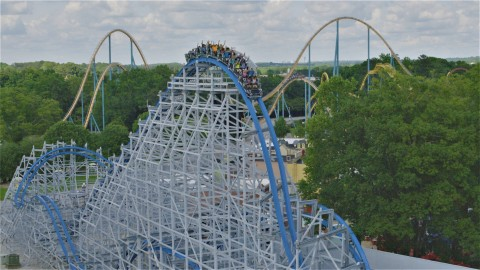 An aerial view of the all-new Twisted Cyclone wood and steel roller coaster now open at Six Flags Over Georgia. The 50 mile-per-hour coaster sends riders 100 feet into the air, then drops thrill-seekers at an insanely steep 75 degree angle into a 360-degree zero gravity roll, through three hair raising inversions and 10 airtime moments. (Photo: Six Flags Over Georgia)