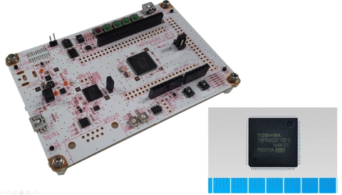 "Toshiba: A microcontroller ""TMPM46BF10FG"" supporting Arm Mbed OS and Mbed evaluation board ""AdBun-M46B"" made by sensyst. (Photo: Business Wire)"