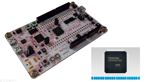 "Toshiba: A microcontroller ""TMPM066FWUG"" supporting Arm Mbed OS and Mbed evaluation board ""AdBun-M066"" made by sensyst. (Photo: Business Wire)"