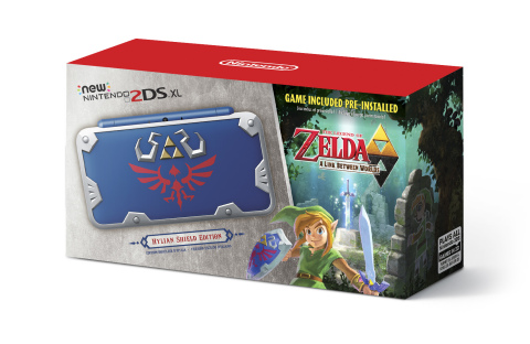 Launching exclusively in GameStop stores on July 2 at a suggested retail price of $159.99, the special edition New Nintendo 2DS XL Hylian Shield Edition system resembles Link's iconic Hylian Shield from The Legend of Zelda series, and comes pre-loaded with the critically acclaimed adventure The Legend of Zelda: A Link Between Worlds. (Photo: Business Wire)