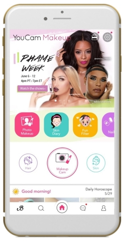 YouCam Makeup teams up with the Professional Hair and Makeup Expo (PHAME) to offer exclusive original content and unique virtual experiences to users in app. (Graphic: Business Wire)