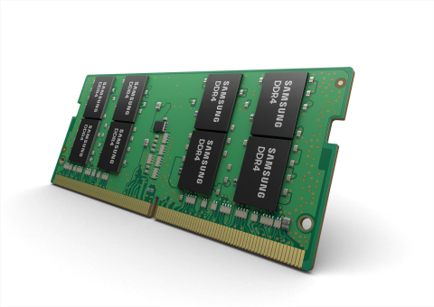 New Samsung 16Gb, 32GB DDR4 SoDIMM (Photo: Business Wire)