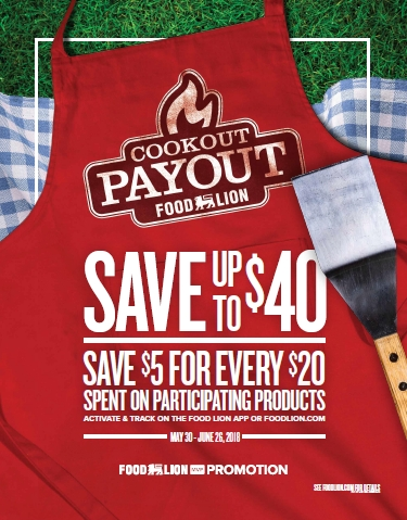 "Turn the Heat Up on Savings this Grilling Season with $40 in Potential Rewards during Food Lion's ""Cookout Payout""; Food Lion Shoppers Can Receive $5 Digital MVP Rewards for Every $20 They Spend on Participating Products through June 26 (Photo: Business Wire)"