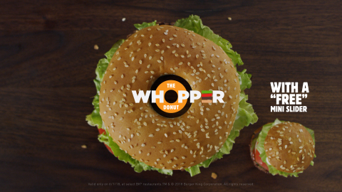"New WHOPPER® Donut, the First Flame-Grilled Donut Ever. and It Comes with a ""Free"" Mini Slider. (Photo: Business Wire)"