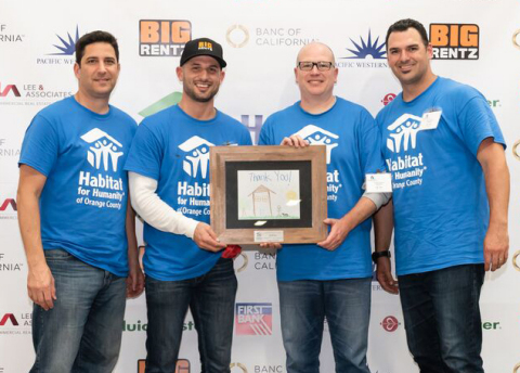 (Left to right) Jim Arabia, VP of Marketing; Dallas Imbimbo, Founder and Chairman; Scott Cannon, CEO; Brian Weaver, VP of Sales at BigRentz at Habitat for Humanity Orange County Leaders Build. (Photo: Business Wire)
