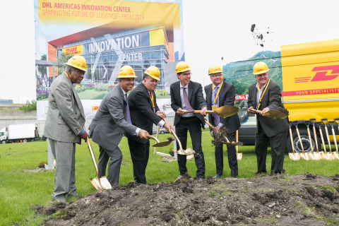 Congressman Danny K. Davis, 7th Congressional District of Illinois; Mike Parra, CEO for DHL Express Americas; Rosemont Mayor Brad Stephens; Matthias Heutger, SVP, Global Head of Innovation & Commercial Development at DHL; Gary Janko, founder and CEO of Janko Group; and Marc Offit, chairman and CEO of Braden Real Estate, celebrate the groundbreaking of DHL's Americas Innovation Center in Rosemont, Ill. set to open in 2019. (Photo: Business Wire)