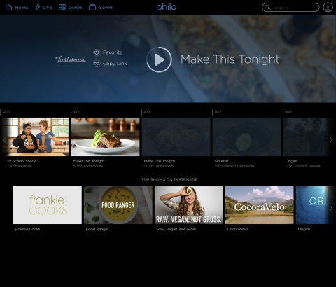 Today TV streaming service Philo brings Tastemade to new and existing subscribers, with Cheddar Big New and PeopleTV coming soon. (Photo: Business Wire)