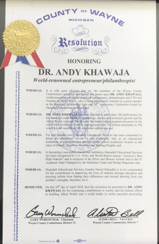 Dr. Andy Khawaja's Certificate of Honor from Wayne County, Michigan (Photo: Business Wire)