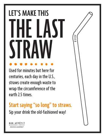 Bon Appétit Management Company's signage to discourage the use of even paper straws (Graphic: Business Wire)