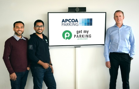 From left Rasik Pansare (GMP), Chirag Jain (GMP), Philippe Op de Beeck (APCOA) (Photo: Business Wire)