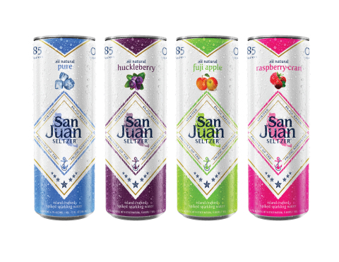 San Juan Seltzer debuts first Northwest craft spiked seltzer. All-natural flavors include Pure, Huckleberry, Fuji Apple, and Raspberry-Cran. (Photo: Business Wire)