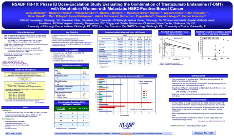 NSABP FB-10: Phase IB Dose-Escalation Study Evaluating the Combination of Trastuzumab Emtansine (T-DM1) with Neratinib in Women with Metastatic HER2-Positive Breast Cancer (Graphic: Business Wire)
