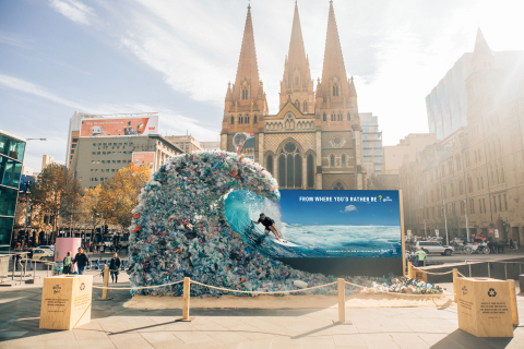 Corona hijacks its own advertisements to raise awareness for marine plastic pollution this Oceans Week. (Photo: Business Wire)