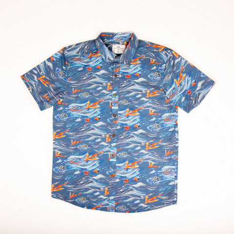 Corona and Parley for the Oceans redesign the Hawaiian shirt to spread awareness about the issue of marine plastic pollution this Oceans Week. The design features everyday plastic items and is made from Parley Ocean Plastic(TM) that is collected from the ocean.(Photo: Business Wire)