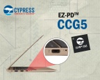 Pictured is Cypress' programmable EZ-PD™ CCG5 two-port USB-C controller, which Intel has qualified for use in Thunderbolt™ 3 host and peripheral designs. (Graphic: Business Wire)