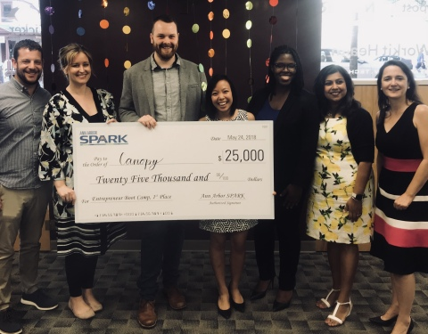 "Startup Canopy Awarded $25,000 First Place ""Best of Ann Arbor SPARK Boot Camp"" Prize (Photo: Business Wire)"
